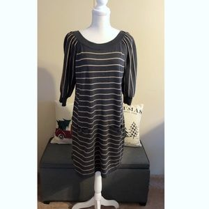 Jessica Howard Striped Sweater Dress With Pockets